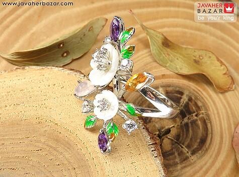انگشتر نقره آمتیست و صدف اصلی طرح شکوفه زنانه - 63395