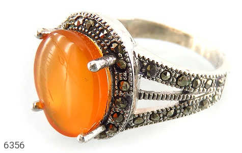 انگشتر نقره عقیق درشت طرح یگانه زنانه - 6356