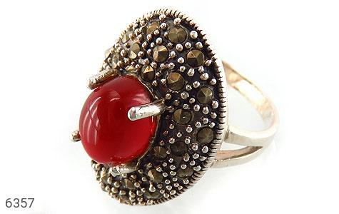 انگشتر نقره عقیق یمن سرخ درشت زنانه - 6357
