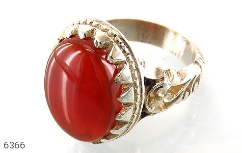 انگشتر نقره عقیق سرخ درشت مردانه دست ساز - 6366