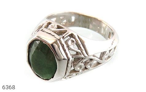 انگشتر نقره زمرد یی خوش رنگ مردانه - 6368
