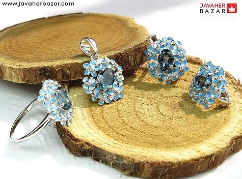 سرویس نقره توپاز آبی و میناکاری جواهری