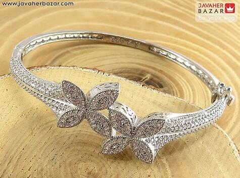 دستبند نقره النگویی طرح پروانه زنانه
