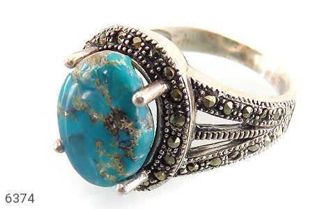 انگشتر نقره فیروزه نیشابوری خوش رنگ زنانه - 6374