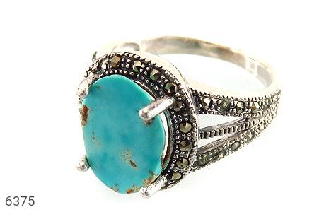 انگشتر نقره فیروزه نیشابوری خوش رنگ زنانه - 6375
