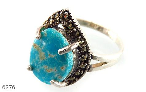 انگشتر نقره فیروزه بسیار خوش رنگ زنانه - 6376