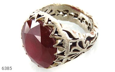 انگشتر نقره یاقوت آفریقایی سرخ یی درشت و شاهانه مردانه دست ساز - 6385