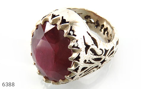 انگشتر نقره یاقوت آفریقایی سرخ یی درشت شاهانه مردانه - 6388