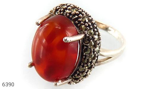 انگشتر نقره عقیق درشت و جذاب زنانه - 6390