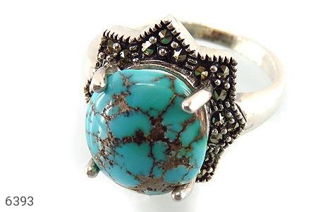انگشتر نقره فیروزه درشت طرح ستاره زنانه - 6393