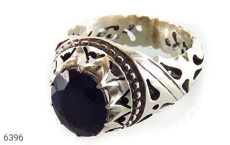 انگشتر نقره یاقوت آفریقایی کبود یی تراش مردانه دست ساز - 6396