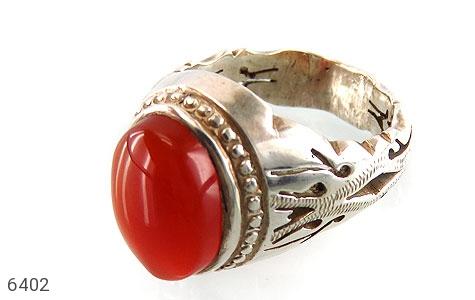 انگشتر نقره عقیق یمن خوش رنگ مردانه دست ساز - 6402