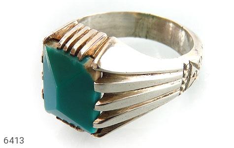 انگشتر نقره فیروزه خوش تراش مردانه دست ساز - 6413