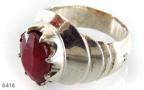 انگشتر نقره یاقوت آفریقایی سرخ یی طرح اسپرت مردانه دست ساز - 6416