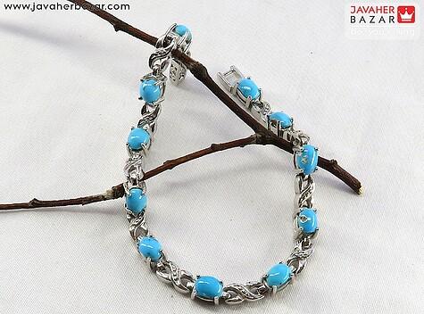 دستبند نقره فیروزه نیشابوری عجمی اشرافی زنانه
