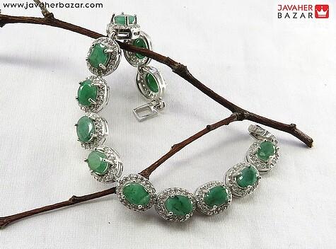 دستبند نقره زمرد سلطنتی زنانه