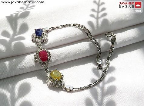 دستبند نقره یاقوت آفریقایی کبود و قرمز و زرد زنانه