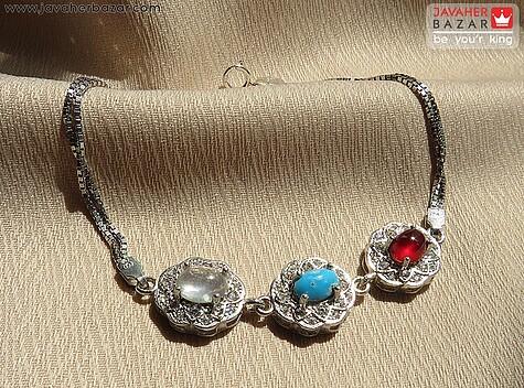 دستبند نقره در نجف و فیروزه نیشابوری و عقیق یمن زنانه