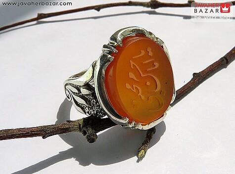 انگشتر نقره عقیق یمن حکاکی یا امام حسن مجتبی مردانه - 64853