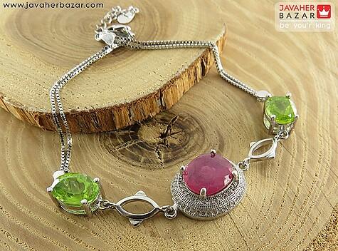 دستبند نقره یاقوت و زبرجد زیبا و شکیل زنانه - 65061