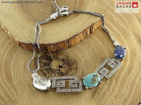 دستبند نقره در نجف و یاقوت و فیروزه نیشابوری اشرافی زنانه