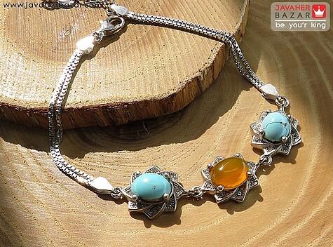 دستبند نقره عقیق و فیروزه نیشابوری شرف الشمس زنانه - 65312