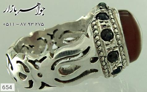 انگشتر نقره عقیق دور یاقوت کبود دست ساز - 654