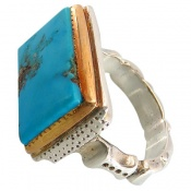 انگشتر نقره فیروزه نیشابوری خوش رنگ سلطنتی مردانه