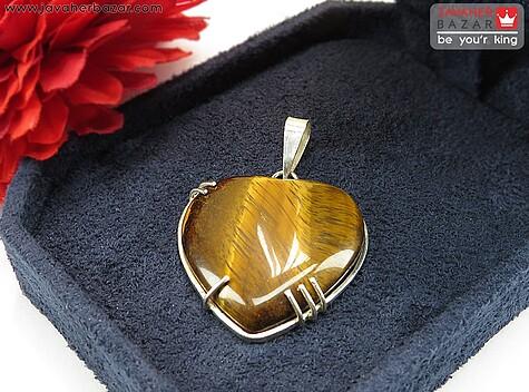 مدال نقره چشم ببر طرح قلب دست ساز