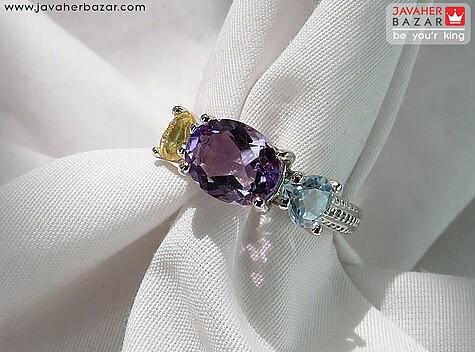 انگشتر نقره آمتیست و سیترین و توپاز زیبا زنانه