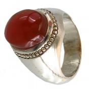 انگشتر نقره عقیق یمنی سرخ خوش رنگ مردانه