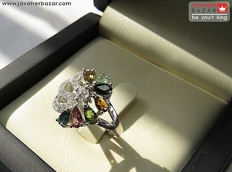 انگشتر نقره تورمالین اشرافی زنانه - 67450