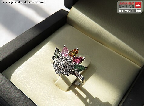 انگشتر نقره تورمالین جذاب زنانه