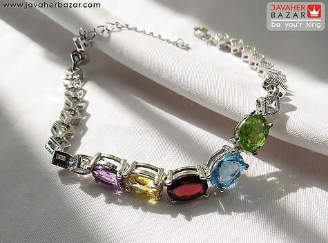 دستبند نقره زبرجد و توپاز و گارنت و سیترین و آمتیست اشرافی زنانه
