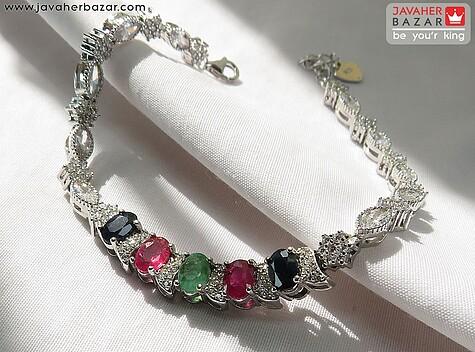 دستبند نقره یاقوت و زمرد طرح فاخر زنانه