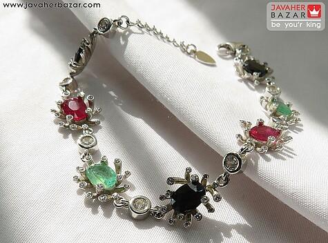 دستبند نقره یاقوت و زمرد طرح تابان زنانه - 67522