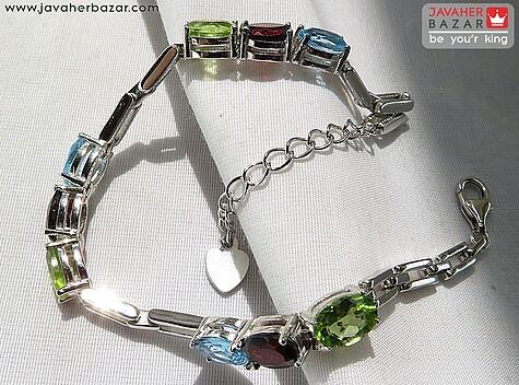 دستبند نقره توپاز و گارنت و زبرجد زنانه
