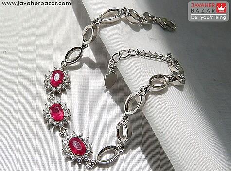 دستبند نقره یاقوت سرخ طرح بهار زنانه - 67550