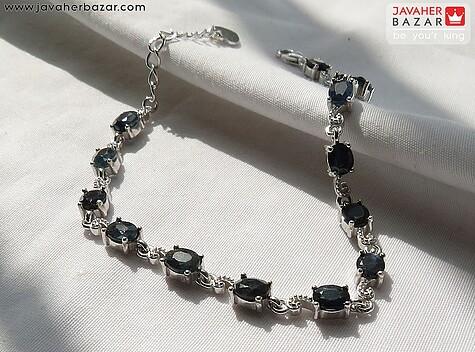 دستبند نقره یاقوت کبود زیبا زنانه - 67559