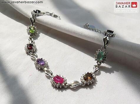 دستبند نقره یاقوت و زبرجد و آمتیست و گارنت و زمرد زنانه