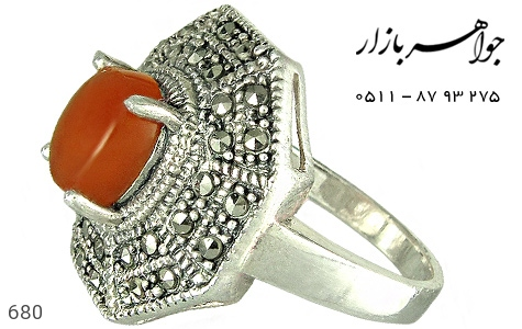 انگشتر نقره عقیق طرح 8ضلعی زنانه - 680