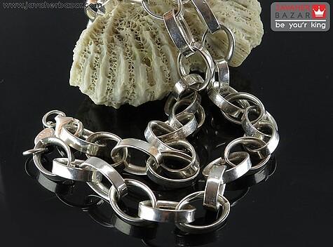 زنجیر نقره 50 سانتی مدل حلقه درشت