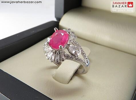 انگشتر نقره یاقوت زیبا و ظریف زنانه - 68848