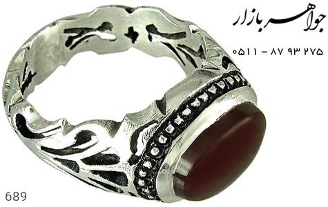 انگشتر نقره عقیق صفوی مردانه دست ساز - 689