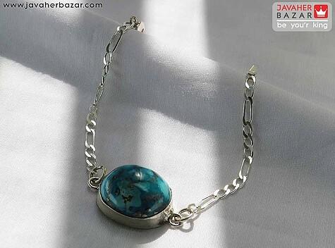 دستبند نقره فیروزه نیشابوری کلاسیک