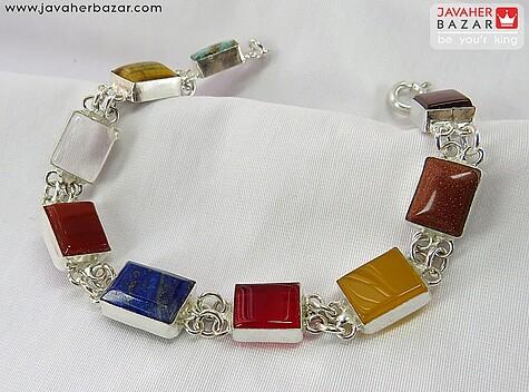 دستبند نقره چندنگین ارزشمند شرف الشمس دست ساز