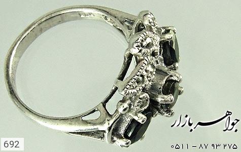 انگشتر نقره یاقوت کبود طرح گل زنانه - 692