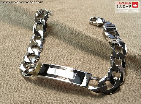 دستبند نقره پلاک دار مردانه