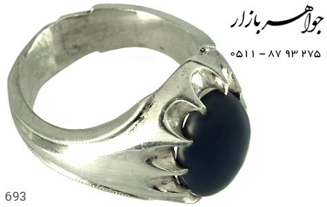 انگشتر نقره یاقوت دور چنگ مردانه دست ساز - 693