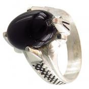 انگشتر عقیق سیاه 4 چنگ